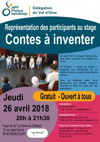 Représentation des participants du stage Contes à inventer le 26 avril 2018 à 20 heures au foyer de vie La ferme du châeau à Menucourt